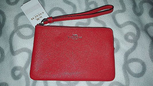 CLEARANCE SALE COACH SMALL WRISTLET IN BRIGHT RED F58032