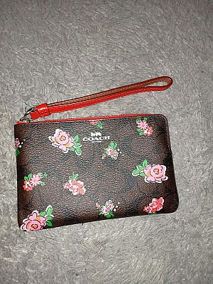 CLEARANCE SALE COACH SMALL WRISTLET IN BROWN RED MUKTI F57588